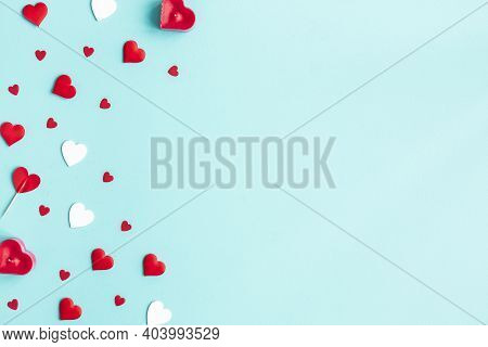 Valentine's Day Background. Red Hearts On White Background. Valentines Day Concept. Flat Lay, Top Vi