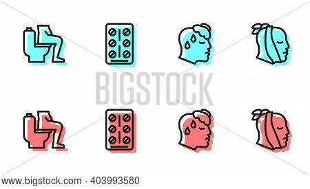 Set Line High Human Body Temperature, Constipation, Pills In Blister Pack And Toothache Icon. Vector