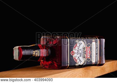 Prague,czech Republic - 6 January,2021: The Detail Of Bottle Jack Daniels Tennessee  Whiskey Od The
