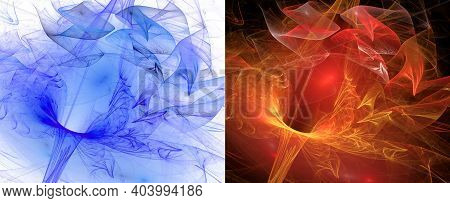 Blue And Red Zigzag Veils Hover Over Transparent Funnels Against White And Black Backgrounds. Set Of