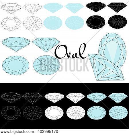 Oval Cut. Cutting Gems Stones. Types Of Diamond Cut. Four Sides Of Jewelry With Facets For Backgroun