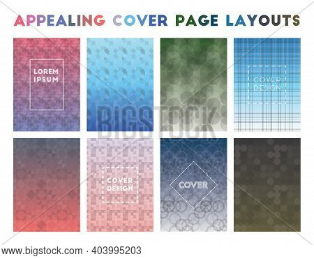 Appealing Cover Page Layouts. Actual Geometric Patterns, Classic Vector Illustration.