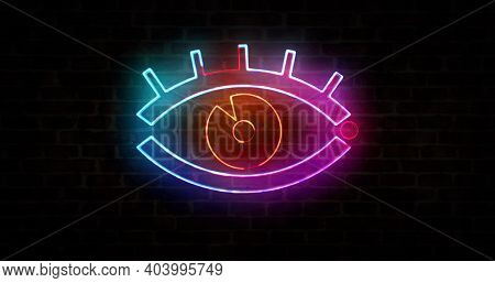 Cyber Eye Symbol, Digital Spying Sign, Surveillance Technology And Privacy Hacking Neon Sign On Bric