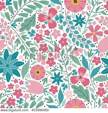 Blooming Midsummer Meadow Seamless Pattern. Floral Background Of Colorful Flowers, Buds, Leaves, Ste