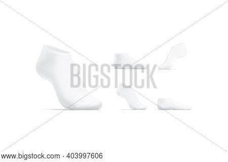 Blank White Low Cut Socks Mockup Stand, Different Views, 3d Rendering. Empty Underwear Ped Sock Stan