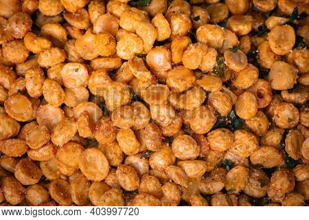View Of Fried Chana Dal With Spices. Famous Indian Sweet And Savoury