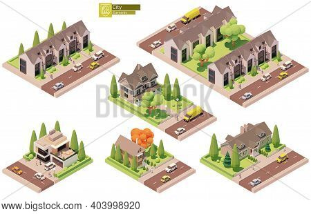 Vector Isometric Buildings And Street Elements Set. Suburban And Village Houses, Homes. Isometric Ci