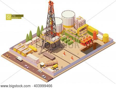 Vector Isometric Oil And Gas Land Drilling Rig. Oil Land Rig Drilling Wells For Petroleum Production