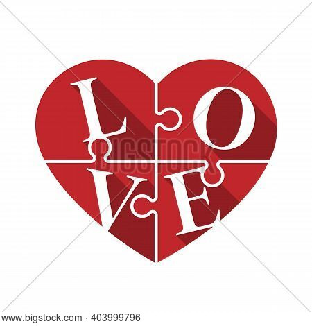 Love Text In Red Heart Jigsaw Sign Vector Design