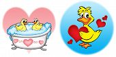 Three ducks with hearts - color illustration. poster
