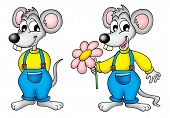Two mouses with pink flower - color illustration. poster