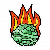 cartoon burning tortoise shell poster