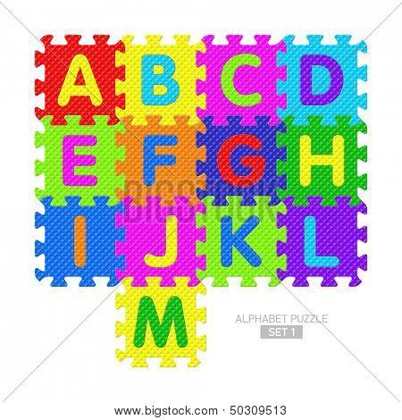 Alphabet puzzle pieces. Vector.