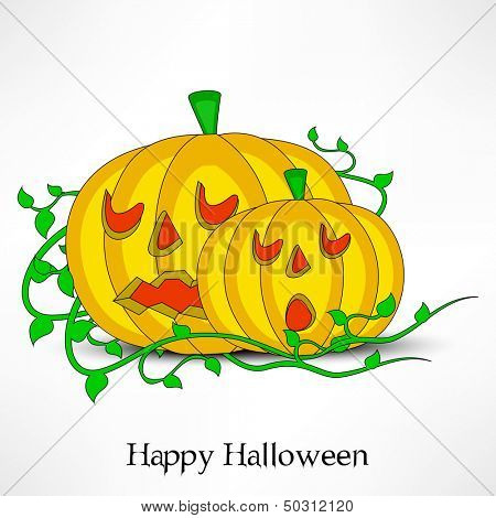 Halloween pumpkins on abstract grey background, can be use as flyer, banner or poster.