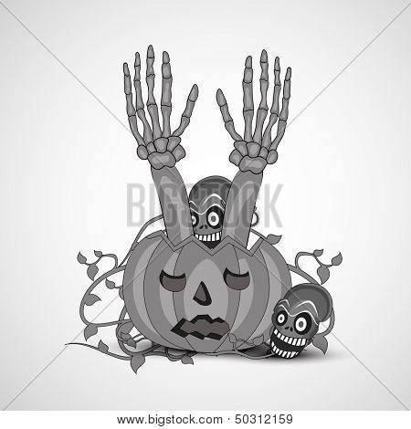 Zombie hand coming out from a pumpkin, can be use as flyer, banner or poster for Night parties.