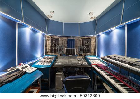 MOSCOW - DEC 25: Empty control room with music equipment in Recording Studio Nautilus on December 25, 2012 in Moscow, Russia.