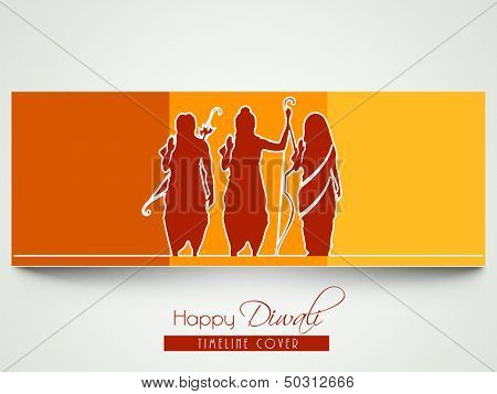 Happy Diwali celebration greeting card with silhouette of Lord Rama with his wife Sita and brother Laxman.