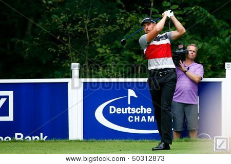 NORTON, MA-SEP 1: Henrik Stenson tees off the fifth hole during the third round at the Deutsche Bank Championship at TPC Boston on September 1, 2013 in Norton, Massachusetts.