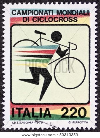 ITALY - CIRCA 1979: a stamp printed in Italy celebrates World Cyclo-cross championship. Italy, circa 1979