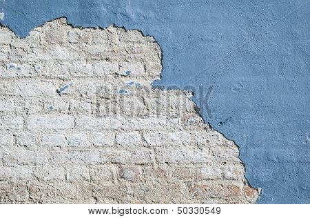Old Blue Brick Wall Background