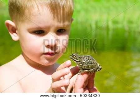 Acquaintance a little boy with a frog