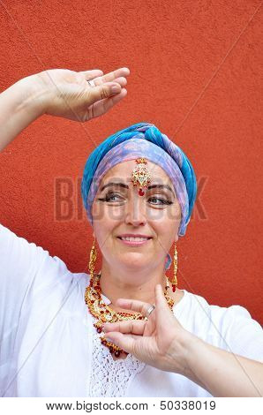 Woman With Indian Necklace, Tikka And Earrings