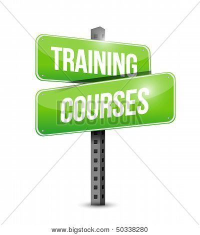 Training Courses Road Sign Illustration Design
