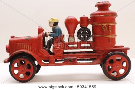 Vintage Cast Iron Toy Engine Driven Fire Steamer