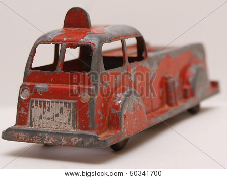 Vintage Red Die Cast Toy Fire Truck