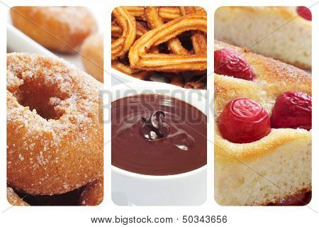 a collage with three different spanish pastries or sweet snacks, such as rosquillas, churros con chocolate and coca amb cireres poster