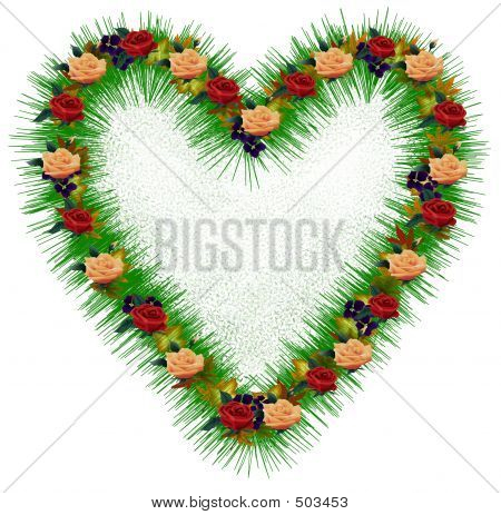 Green Heart With Flowers