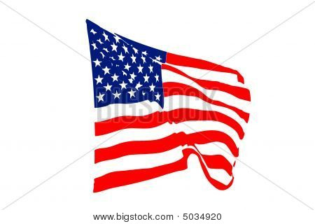 Usa Flag Blowing In The Wind