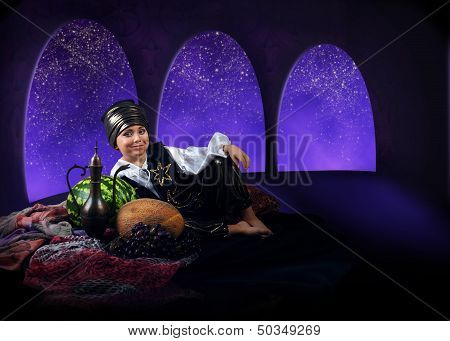 Little Boy In Reach Arabian Farytale Dress