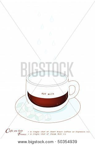 A Cup Of Cafe Au Lait Or French Pressed Coffee