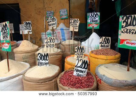 Food Basics For Sale In An African Market