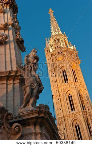Matthias Church And The Trinity Statue In Budapest