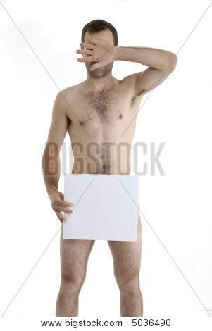 Naked Young Man Hiding Behind His Hand And Piece Of Paper