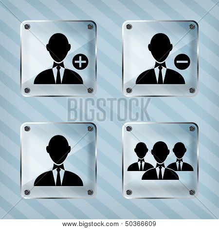 glass set icon of businessman on a striped background