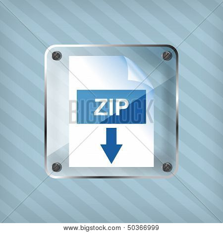 transparency zip download icon on a striped background