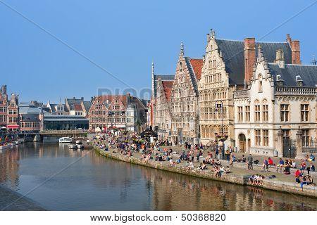Graslei In Ghent In The Summer Day