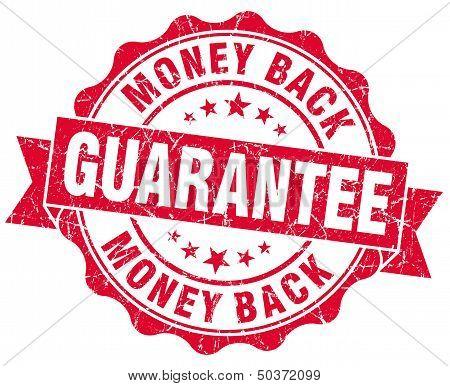 Money Back Guarantee Grunge Red Stamp