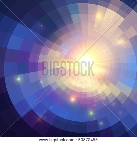 poster of Abstract violet shining circle tunnel lined background