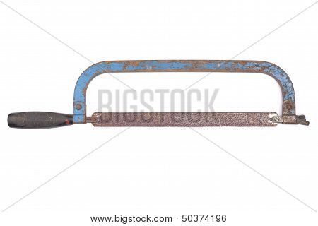 Old Rusty Hacksaw, Isolated On White Background