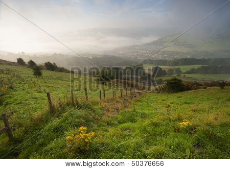 misty yorkshire dales valley in autumn