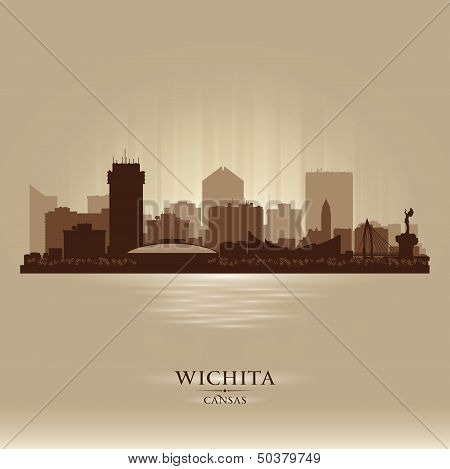 Wichita Kansas City Skyline Vector Silhouette