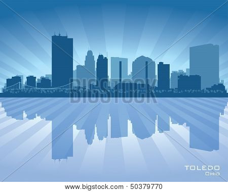 Toledo Ohio City Skyline Vector Silhouette