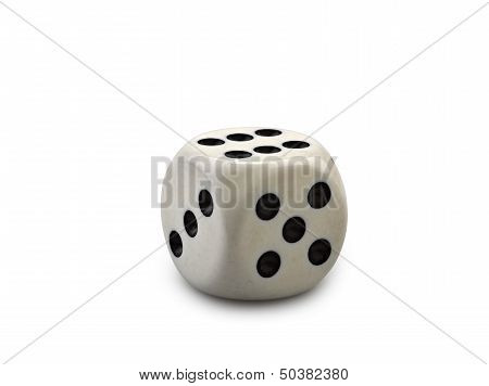 Old And Used Dice Isolated On White Background