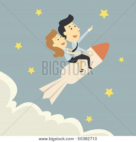 Businespeople Growth On Rocket