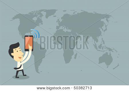 Smartphones And Networking, Cartoon Vector