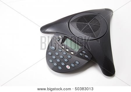 Conference phone over white background